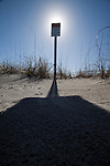 keep out sign Folly Beach South Carolina blue sky