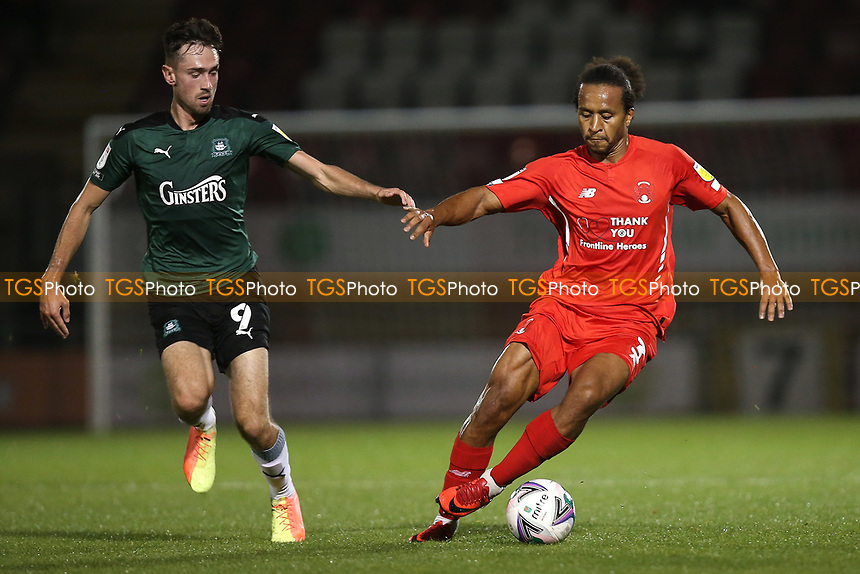 Joe Widdowson of Leyton Orient and Ryan Hardie of Plymouth Argyle during Leyton Orient vs Plymouth Argyle, Caraboa Cup Football at The Breyer Group Stadium on 15th September 2020
