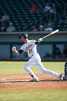 Mesa Solar Sox designated hitter Eli White (21), of the Oakland Athletics organization, follows through on his swing during an Arizona Fall League game against the Peoria Javelinas at Sloan Park on October 24, 2018 in Mesa, Arizona. Mesa defeated Peoria 4-3. (Zachary Lucy/Four Seam Images)
