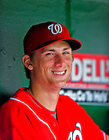 24 May 2009: Washington Nationals' rookie pitcher Ross Detwiler watches play from the dugout during a game against the Baltimore Orioles at Nationals Park in Washington, DC. The Nationals rallied to defeat the Orioles 8-5 and salvage one win of their interleague series. Mandatory Credit: Ed Wolfstein Photo