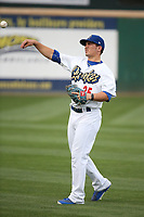 Omar Estevez (25) of the Rancho Cucamonga Quakes throws in the outfield before a game against the Modesto Nuts at LoanMart Field on August 2, 2017 in Rancho Cucamonga, California. Modesto defeated Rancho Cucamonga, 10-5. (Larry Goren/Four Seam Images)