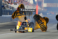 Nov. 11, 2011; Pomona, CA, USA; NHRA top fuel dragster driver Mike Ashley after exploding an engine during qualifying at the Auto Club Finals at Auto Club Raceway at Pomona. Mandatory Credit: Mark J. Rebilas-.