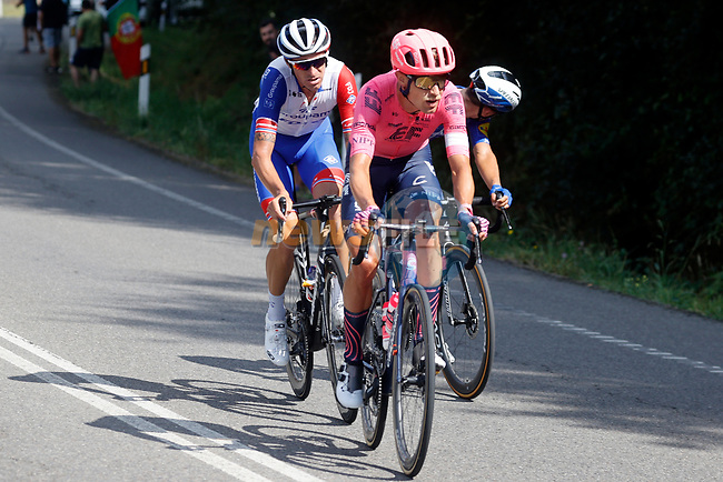 Magnus Cort Nielsen (DEN) EF Education-Nippo and Anthony Roux (FRA) Groupama-FDJ in the breakaway during Stage 19 of La Vuelta d'Espana 2021, running 191.2km from Tapia de Casariego to Monforte de Lemos, Spain. 3rd September 2021.    <br /> Picture: Luis Angel Gomez/Photogomezsport | Cyclefile<br /> <br /> All photos usage must carry mandatory copyright credit (© Cyclefile | Luis Angel Gomez/Photogomezsport)