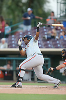 Angel Villalona (41) of the San Jose Giants bats during a game against the Inland Empire 66ers at San Manuel Stadium on August 26, 2015 in San Bernardino, California. San Jose defeated Inland Empire, 8-1. (Larry Goren/Four Seam Images)