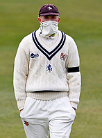 Kent's Zak Crawley feels the cold during Kent CCC vs Yorkshire CCC, LV Insurance County Championship Group 3 Cricket at The Spitfire Ground on 15th April 2021