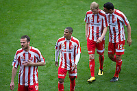 MELBOURNE, AUSTRALIA - SEPTEMBER 19, 2010: Players from the Heart leave the field at half time in Round 7 of the 2010 A-League between the Melbourne Heart and Wellington Phoenix at AAMI Park on September 19, 2010 in Melbourne, Australia. (Photo by Sydney Low / Asterisk Images)