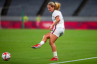 TOKYO, JAPAN - JULY 21: Lindsey Horan #9 of the United States passes the ball during a game between Sweden and USWNT at Tokyo Stadium on July 21, 2021 in Tokyo, Japan.