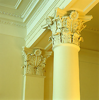These elaborate Corinthian columns support the ornate ceiling of a grand entrance hall