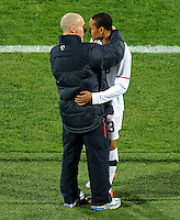 Bob Bradley manager of USA has words with Ricardo Clark of USA before taking him off. USA vs Ghana in the 2010 FIFA World Cup at Royal Bafokeng Stadium in Rustenburg, South Africa on June 26, 2010.
