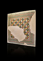 Roman mosaics - Geometric mosaic with 3d illusion. House of Oceanos, Ancient Zeugama, 2nd - 3rd century AD . Zeugma Mosaic Museum, Gaziantep, Turkey.   Against a black background.