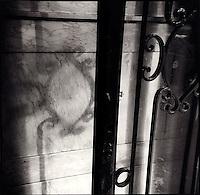 Shadow of door frame on wall<br />