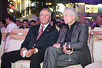 Michael Douglas and Gary Player during the Opening Ceremony after the Opening Ceremony of the the World Celebrity Pro-Am 2016 Mission Hills China Golf Tournament on 20 October 2016, in Haikou, China. Photo by Weixiang Lim / Power Sport Images