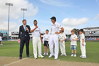 Ravi Bopara (2nd L) tosses the coin ahead of the game as Alastair Cook and Michael Atherton look on - Essex CCC vs England - LV Challenge Match at the Essex County Ground, Chelmsford - 30/06/13 - MANDATORY CREDIT: Gavin Ellis/TGSPHOTO - Self billing applies where appropriate - 0845 094 6026 - contact@tgsphoto.co.uk - NO UNPAID USE