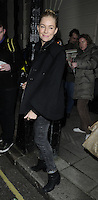 "SIENNA MILLER .Departed after the first preview performance of ""Flare Path"", Haymarket, London, England, UK, 4th March 2011..full length black coat cape grey gray jeans denim .CAP/CAN.©Can Nguyen/Capital Pictures."