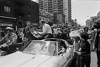 Jacques Lemaire,<br /> Defile de la Coupe Stanley, sur la rue Ste-Catherine, Mai 1973,<br /> suite a la victoire contre les  Black Hawks de Chicago, le 10 mai.<br /> Date exacte inconnue.<br /> <br /> <br /> PHOTO  : Agence Quebec Presse - Alain Renaud