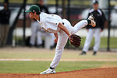 March 17, 2010:  Pitcher Mark Schroeder (1) of North Dakota State University Bison vs. Long Island University at Lake Myrtle Park in Auburndale, FL.  Photo By Mike Janes/Four Seam Images