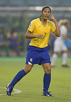 Brazil midfielder (7) Daniela. Brazil (BRA) defeated New Zealand (NZL) 5-0 in their  FIFA Women's World Cup China 2007 Group D opening round match at Wuhan Sports Center Stadium in Wuhan, China on September 12, 2007.