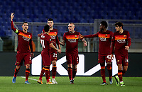 Football Soccer: Europa League -Round of 16 1nd leg AS Roma vs FC Shakhtar Donetsk, Olympic Stadium. Rome, Italy, March 11, 2021.<br /> Roma's captain Lorenzo Pellegrini (L) celebrates after scoring with his teammates during the Europa League football soccer match between Roma and  Shakhtar Donetsk at Olympic Stadium in Rome, on March 11, 2021.<br /> UPDATE IMAGES PRESS/Isabella Bonotto