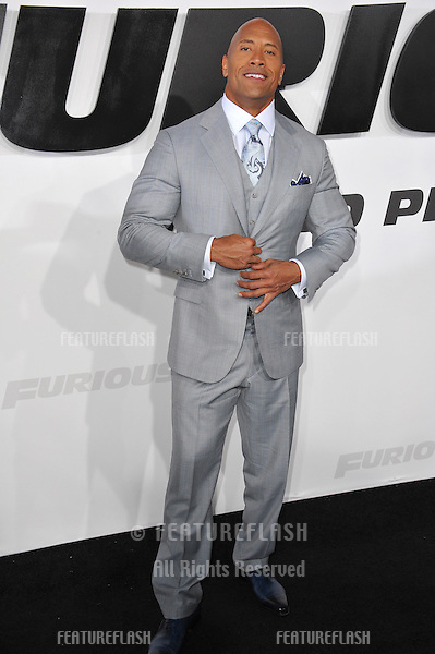 """Dwayne """"The Rock"""" Johnson at the world premiere of his movie """"Furious 7"""" at the TCL Chinese Theatre, Hollywood.<br /> April 1, 2015  Los Angeles, CA<br /> Picture: Paul Smith / Featureflash"""