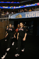 8 April 2008: Stanford Cardinal (L-R) Cissy Pierce, Hannah Donaghe, Melanie Murphy, Candice Wiggins, and Jeanette Pohlen during Stanford's 64-48 loss against the Tennessee Lady Volunteers in the 2008 NCAA Division I Women's Basketball Final Four championship game at the St. Pete Times Forum Arena in Tampa Bay, FL.