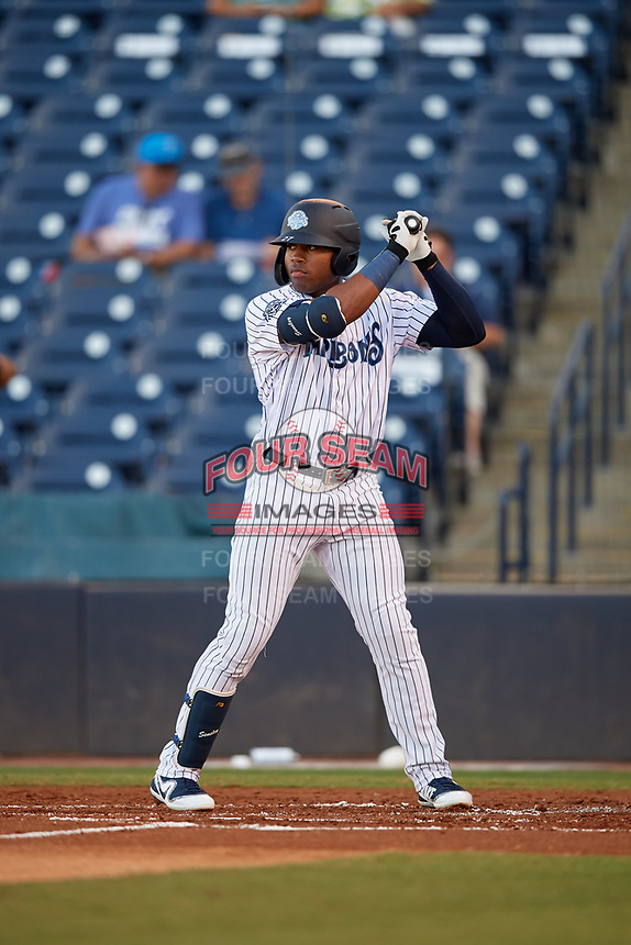 Tampa Tarpons Steven Sensley (27) at bat during a Florida State League game against the St. Lucie Mets on April 10, 2019 at George M. Steinbrenner Field in Tampa, Florida.  St. Lucie defeated Tampa 4-3.  (Mike Janes/Four Seam Images)