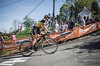 Belgian Champion Jolien D'Hoore (BEL/Mitchelton Scott) up the infamous Mur de Huy.<br /> <br /> <br /> 21st La Flèche Wallonne Femmes <br /> 1 day race: Huy - Huy (118,5KM)
