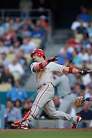 Aaron Rowand of the Philadelphia Phillies during a game against the Los Angeles Dodgers in a 2007 MLB season game at Dodger Stadium in Los Angeles, California. (Larry Goren/Four Seam Images)