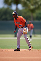 GCL Astros second baseman Dexter Jordan (12) during a Gulf Coast League game against the GCL Marlins on August 8, 2019 at the Roger Dean Chevrolet Stadium Complex in Jupiter, Florida.  GCL Marlins defeated GCL Astros 5-4.  (Mike Janes/Four Seam Images)