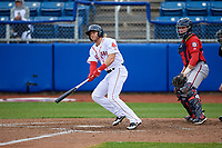 Salem Red Sox right fielder Trenton Kemp (10) follows through on a swing during the first game of a doubleheader against the Potomac Nationals on June 11, 2018 at Haley Toyota Field in Salem, Virginia.  Potomac defeated Salem 9-4.  (Mike Janes/Four Seam Images)