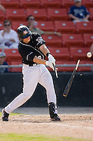Andrew Walker (36) of the Hickory Crawdads has his bat explode after making contact at L.P. Frans Stadium in Hickory, NC, Sunday, May 4, 2008.