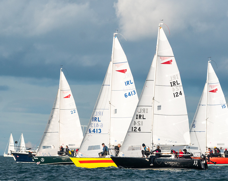 The Puppeteer 22s are now the biggest class – enjoying the sun are (left to right) Wey Hey (Ian Dickson), Yellow Peril (Murphy/Costello), Honeybadger (May/Burke) and Trick-or-Treat (Pearson/Blay. Trick or Treat now lies second overall. Photo: Annraoi Blaney