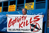 dolphin anti-captivity activist Ric O'Barry by Dolphin Freedom Bus, Coconut Grove, Florida