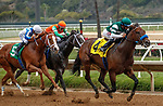 DEL MAR, CA  AUGUST 20:  #4 Edgeway, ridden by Joe Bravo, in the stretch of the Rancho Bernardo Handicap (Grade lll) on August 20, 2021 at Del Mar Thoroughbred Club in Del Mar, CA.  (Photo by Casey Phillips/Eclipse Sportswire/CSM)