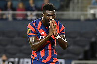 KANSAS CITY, KS - JULY 15: Daryl Dike #11 of the United States during a game between Martinique and USMNT at Children's Mercy Park on July 15, 2021 in Kansas City, Kansas.
