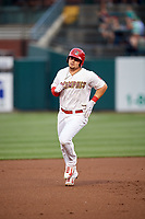 Memphis Redbirds first baseman Luke Voit (35) rounding the bases after hitting a home run in the bottom of the first inning during a game against the Round Rock Express on April 28, 2017 at AutoZone Park in Memphis, Tennessee.  Memphis defeated Round Rock 9-1.  (Mike Janes/Four Seam Images)