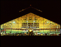 USA, Oregon, Night view of the Spruce Goose displayed at the Evergreen Aviation Museum located in McMinnville. Credit as: Steve Terrill / Jaynes Gallery / DanitaDelimont.com