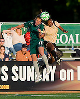 St Louis Athletica midfielder Lori Chalupny (17) and FC Gold Pride midfielder Formiga (31) jump for the ball during a WPS match at Korte Stadium, in st. Louis, MO, May 9 2009.