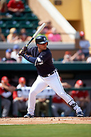 Detroit Tigers shortstop Jose Iglesias (1) at bat during an exhibition game against the Florida Southern Moccasins on February 29, 2016 at Joker Marchant Stadium in Lakeland, Florida.  Detroit defeated Florida Southern 7-2.  (Mike Janes/Four Seam Images)