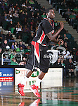 Arkansas State Red Wolves forward Brandon Peterson (15) in action during the NCAA  basketball game between the Arkansas State Red Wolves and the University of North Texas Mean Green at the North Texas Coliseum,the Super Pit, in Denton, Texas. UNT defeated Arkansas State 83 to 64..
