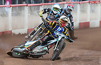 Heat 14: Matt Bates (white), Nick Laurence (blue) and Alfie Bowtell (red)<br /> <br /> Photographer Rob Newell/CameraSport<br /> <br /> National League Speedway - Lakeside Hammers v Eastbourne Eagles - Lee Richardson Memorial Trophy, First Leg - Friday 14th April 2017 - The Arena Essex Raceway - Thurrock, Essex<br /> © CameraSport - 43 Linden Ave. Countesthorpe. Leicester. England. LE8 5PG - Tel: +44 (0) 116 277 4147 - admin@camerasport.com - www.camerasport.com