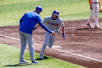Florida Gators left fielder Jacob Young (1) rounds third base following a home run against the Tennessee Volunteers on Robert M. Lindsay Field at Lindsey Nelson Stadium on April 11, 2021, in Knoxville, Tennessee. (Danny Parker/Four Seam Images)