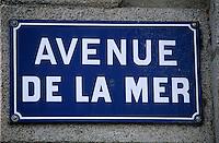 """Europe/France/Bretagne/29/Finistère/Saint-Pol-de-Léon: Détail plaque de rue """"Avenue de la Mer"""""""