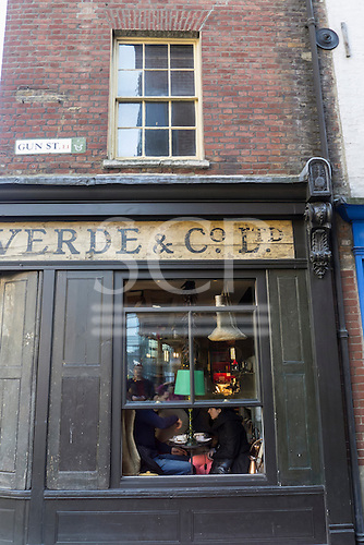 Spitalfields, London. Verde & Co Ltd shop and cafe in a traditional Georgian shop in the Artillery Passage Conservation Area