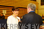 Norma Foley FF chats to Aidan O'Connor at the count in Killarney on Monday evening
