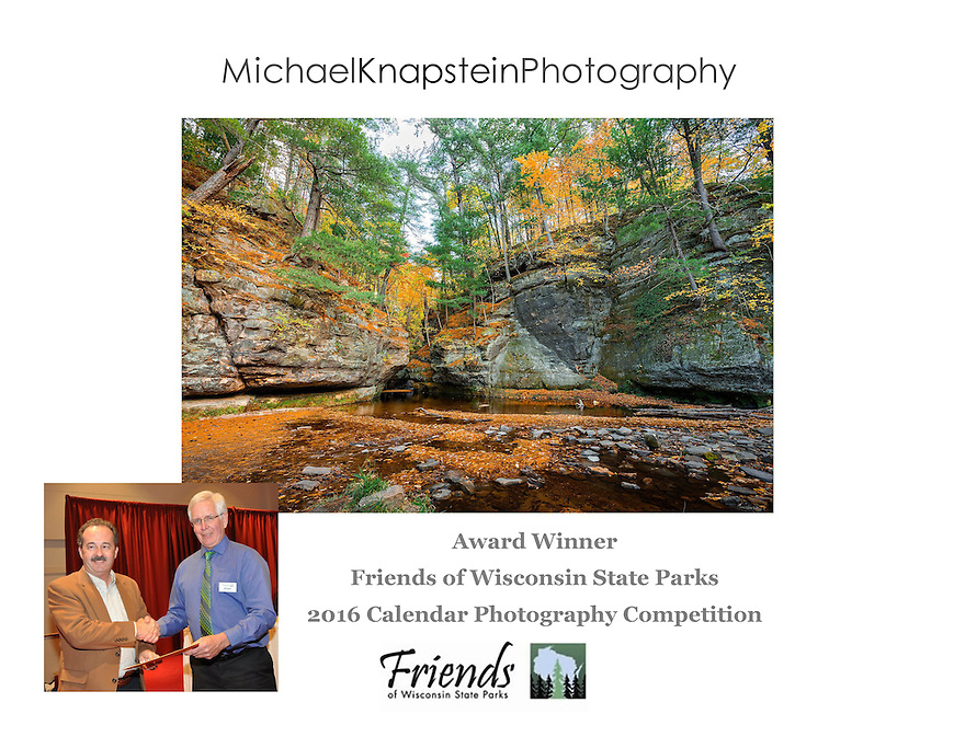 Michael Knapstein's photograph of Pewit's Nest is featured in the 2016 calendar from the Friends of Wisconsin State Parks. Here he is seen receiving an award at the FOWSP Annual Awards Banquet held at Monona Terrace in Madison, Wisconsin.