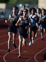 Dawson Mayberry (center) of Bentonville leads Dylan Mayberry (left) Friday, April 30, 2021, as they finish the 1,600 meters during the 6A-West Conference Track and Field Meet at the Tiger Athletic Complex in Bentonville. Visit nwaonline.com/210501Daily/ for today's photo gallery. <br /> (NWA Democrat-Gazette/Andy Shupe)