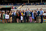 """DEL MAR, CA  JULY 28:  #4 Ollie's Candy, ridden by Kent Desormeaux, and the connections in the winners circle after winning the Clement L Hirsch Stakes (Grade 1) a Breeders' Cup """"Win and You're In"""" Distaff Division (Photo by Casey Phillips/Eclipse Sportswire/CSM)"""