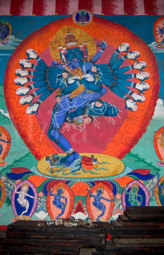 Tibetan Buddhist Deity Chakrasamvara in Yabyum, Tagong  Monastery (Lhagang ) - Kham (E. Tibet), Sichuan Province, China