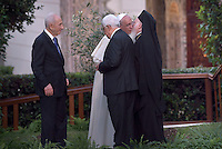 Pope Francis  with Palestinian leader Mahmud Abbas  and Israeli President Shimon Peres and Orthodox Patriarch Bartholomew,for a joint peace prayer in the gardens of the Vatican.June 8, 2014