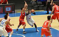 MEDELLÍN - COLOMBIA, 25-08-2017: Christopher GASTON de Puerto Rico disputa el balón con Gabriel GIRON de Mexico durante partido de la fase de grupos, grupo A, de la FIBA AmeriCup 2017 jugado en el coliseo Iván de Bedout de la ciudad de Medellín.  El AmeriCup 2017 se juega  entre el 25 de agosto y el 3 de septiembre de 2017 en Colombia, Argentina y Uruguay. / Christopher GASTON of Puerto Rico fights for the ball with Gabriel GIRON of Mexico during the match of the group stage Group A of the FIBA AmeriCup 2017 played at Ivan de Bedout  coliseum in Medellin. The AmeriCup 2017 is played between August 25 and September 3, 2017 in Colombia, Argentina and Uruguay. Photo: VizzorImage / León Monsalve / Cont